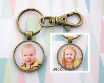 Double Sided Photo Keyring - Custom Photo KeyChain - Bronze Key Ring - Personalized Key Chain - Two Photo Keychain - 25 mm / 1 in Circle