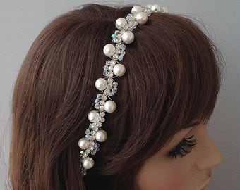 wedding headband, bridal tiara, wedding head piece, Rhinestone and Pearl Hadband, bridal accessories, gift for her, hair flowers