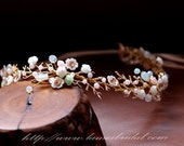 Candy colors Bohemian small flowers Tiara, Golden Hair Vine Headband Crown Bridal Hair Accessories with Hair pins
