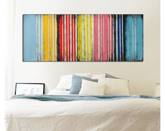 Painting - Abstract Art - Canvas Wall art - Colors on Colors Striped G36 On canvas - Original Art - Landscape Art - Abstract Painting