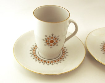 Retro Cup and saucer set of 2. Mosa Holland Maastricht, retro kitchenware. Geometric floral pattern Burnt orange grey. Holland