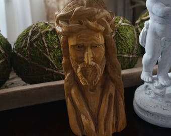 Vintage, Carved Wood Jesus Bust