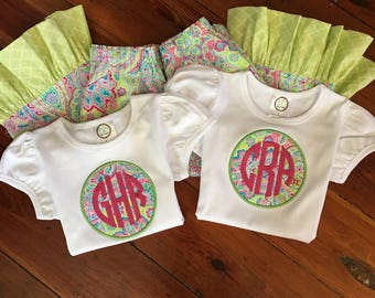 Girls Monogram and Applique Top and Ruffle Pants/Girls Applique Shirt and Ruffle Pants/Girls Monogram Top and Ruffle Pants