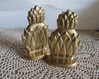Vintage Pair Brass Pineapple Bookends.
