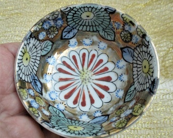 Heavily Gilded Trinket  Soap Dish Bowl Floral Porcelain Handpainted Gold Occupied Japan Small Nut Candy Dish Vanity Trinket Dish