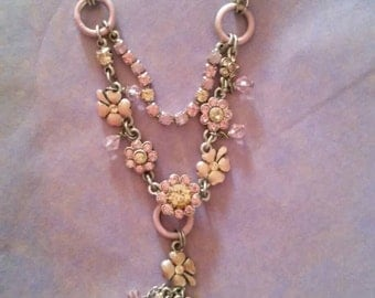 Beautiful pink, peach floral rhinestone necklace