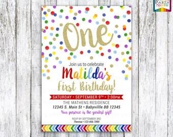 Confetti Rainbow Gold Glitter Birthday Invitation • Gender Neutral Personalized Digital Printable (4x6 / 5x7) (jpg / pdf)  *THEME #PS103