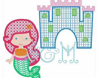 Mermaid and Sand Castle Under the Sea Motif fill embroidery design
