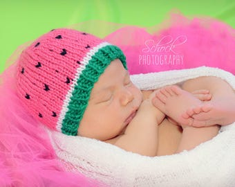 Watermelon Newborn Hat • Watermelon Baby Hat • Summer Baby Hat • Watermelon Hat • Watermelon Baby Shower Gift • Newborn Photo Prop