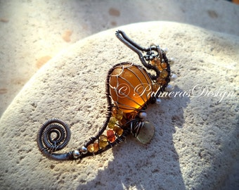 HONEY seahorse wire wrapped seaglass pendant.
