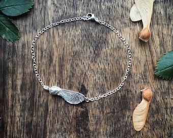 Sterling silver sycamore bracelet, silver leaf bracelet