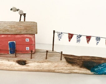 Driftwood Art * Unique Gift * Little wooden Houses * Coastal Art * Coastal Home Decor * Luxury Gift * Recycled Art * Driftwood * Found art