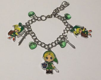 Handmade Adjustable Bracelet with Japanese Anime LEGEND OF ZELDA Video Game Inspired charms