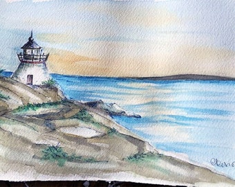 Watercolor Lighthouse, Rhode Island, Limited Edition Fine Art Print, Watercolor Seascape, Oceanview with Lighthouse, Lighthouse painting