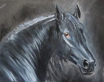 Black Horse/JPG/Digital art/Wall art/Horse art/Art to download/Friesian horse