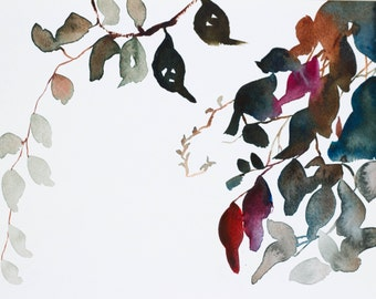 autumn leaves no. 3 . original watercolor painting