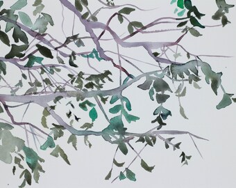 branch study no. 2 . original watercolor painting