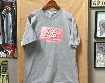 Vintage Fight Club Promo T-Shirt Rare Made in USA All Sport Brad Pitt Edward Norton Tyler Durden Chuck Palahniuk Size Large 1998
