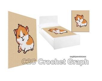 C2C Crochet pattern,Baby Guinea Pig, C2C Crochet Graph / Cross stitch, Pdf Chart, No.212