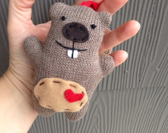 Tiny Happy Groundhog ornament