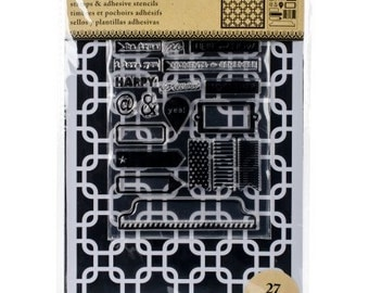 Art-C INTERLOCK SQUARES  Stamp & Adhesive Stencil set Tabs stamp tags stamp 1.cc02