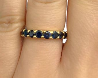 SALE Natural Sapphire Eternity Band Ring with 14k Solid Yellow Gold Eternity Band Ring with 14k solid Yellow gold