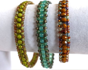 Colorful mix and match thin beaded bracelets.