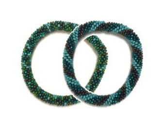 Beaded Bangles -  Turquoise and Brown Seed Bead (Set of 2) - Guatemala (053BE)