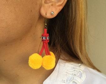 Bright Pom Pom Earrings Gypsy Jewelry (Gold) (020E) - Thailand