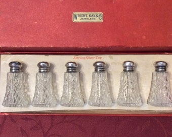 Vintage Sterling Silver Top Crystal Pressed Glass Salt and Pepper Shakers Set of 6 In Original Box