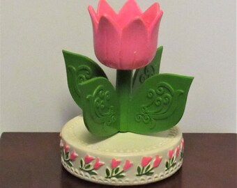 Vintage Musical Tulip Candle Holder, Hallmark, Made in Japan