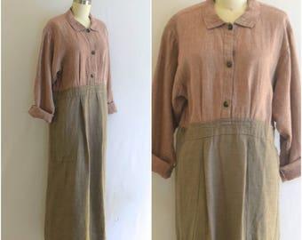 FLAX Minimalist 1980s Dress/ Avant Garde Linen Dress/ Modern Button Down Midi Dress/ Womens Size Small