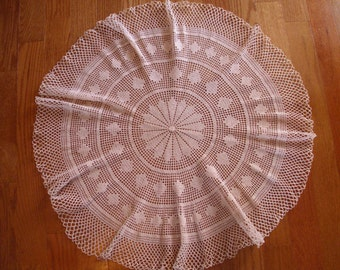 "Vintage 29"" Round Crochet Tablecloth, Large Beige Doily, Large Round Doily, Round Tablecloth, Beige Crochet Doily, Beige Tablecloth,"