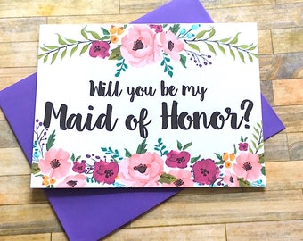 Will You Be My Maid Of Honor Card, Wedding Maid Of Honor Card, Be My Maid of Honor, Wedding Card, Bridesmaid Card - MULBERRY