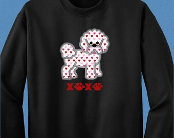 Bishon Frise Shirt - XOXO Applique Bishon Valentine Shirt in Short Sleeved, Long Sleeved Tee or Sweatshirt - Bishon Frise Valentine Gift