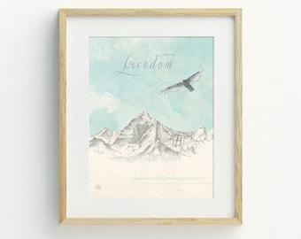Eagle Art Print, Mountain Art Print, Original Artwork, Mountain Wall Art, Bohemian Decor, Hand Drawn Art Print, Archival Print, Wildlife Art