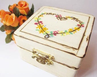 Wedding Ring Box, wedding decor, wedding gift, wood box, custom wood burn, ring bearer, ring cushion, felt flowers