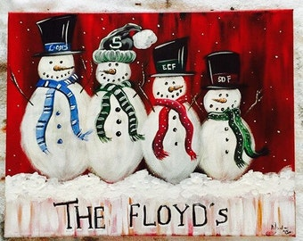 Personalized Snowmen Family Painting, Perfect for Christmas gift, Snow, holiday decor, winter art