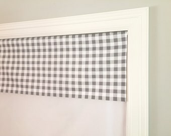"Straight Valance.  Premier Prints Plaid Storm Grey.  Custom Sizing Available Up To 54"" Wide."