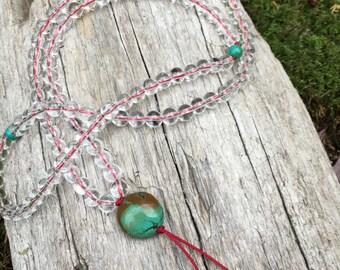 Quartz and turquoise Buddhist Mala Prayer Bead Necklace by Bicycling Buddha yc140