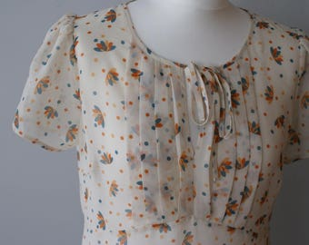 Adorable Cream retro style blouse in dots, summer blouse