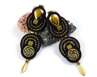 Black soutache earrings, Statement earrings, Gold earrings, Round beaded earrings, Long earrings, Soutache orecchini, Mothers Day gift