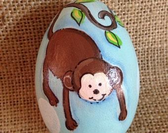 """3.25"""" Silly monkey Easter egg, wooden egg"""