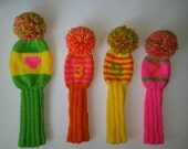 FOUR Hand Knit  Custom Retro-Vintage-Look Golf Club Head Covers, Bright Pink, Green, Yellow, Orange with pompoms for Drivers, Woods, Hybrids