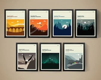 Harry Potter Movie Posters - Set of Prints, Movie Poster, Movie Print, Film Poster, Harry Potter Poster, Harry Potter Print