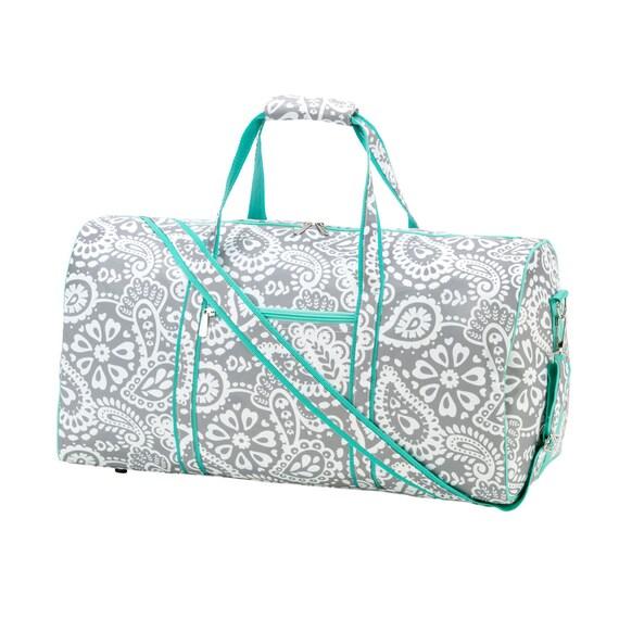 Paisley embroidered  Duffel bag luggage overnight bag monogram bag girls sleepover luggage  bag Duffel bag