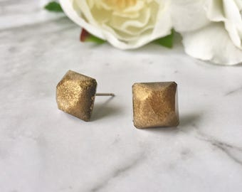 Gold Sparkly Glitter Glam Faceted Square Gem Resin Post Earrings. Nickel Free. Made by Hand in Australia. For Sensitive Ears.