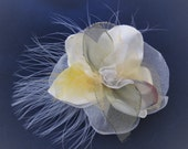 Fabric Flower Pin in White 9cm