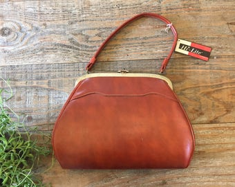 Vintage NOS Brown Leather Handbag