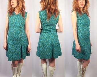 Vintage 1960's Mod Dress turquoise tapestry